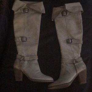 Over the knee leather cream boots
